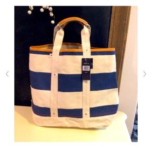 Tommy Hilfiger Canvas Leather Tote Beach Bag